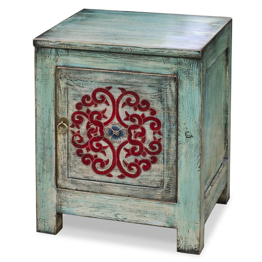 Distressed Light Turquoise Blue Elmwood Tibetan Cabinet