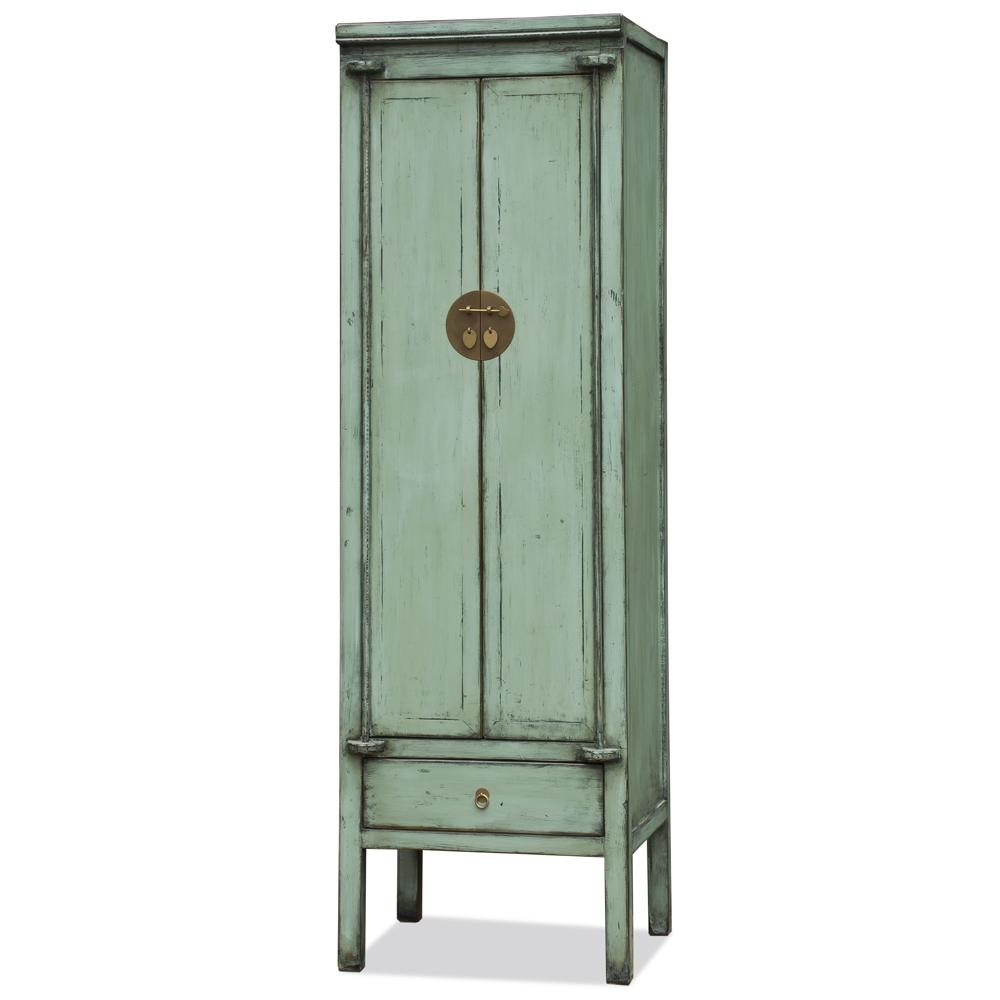 Distressed Aquamarine Green Elmwood Chinese Ming Armoire