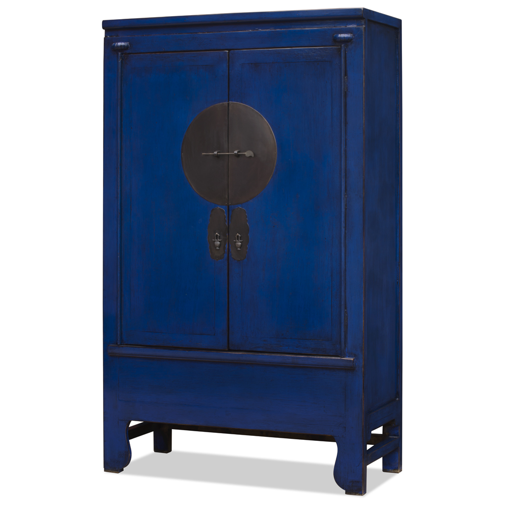 Distressed Navy Blue Elmwood Chinese Ming Wedding Armoire
