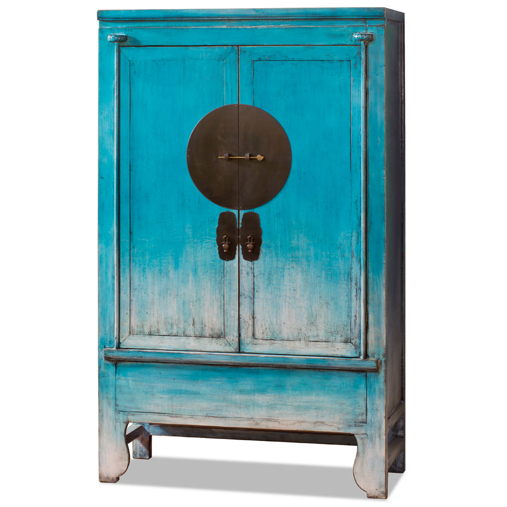 Distressed Sky Blue Elmwood Chinese Ming Wedding Armoire