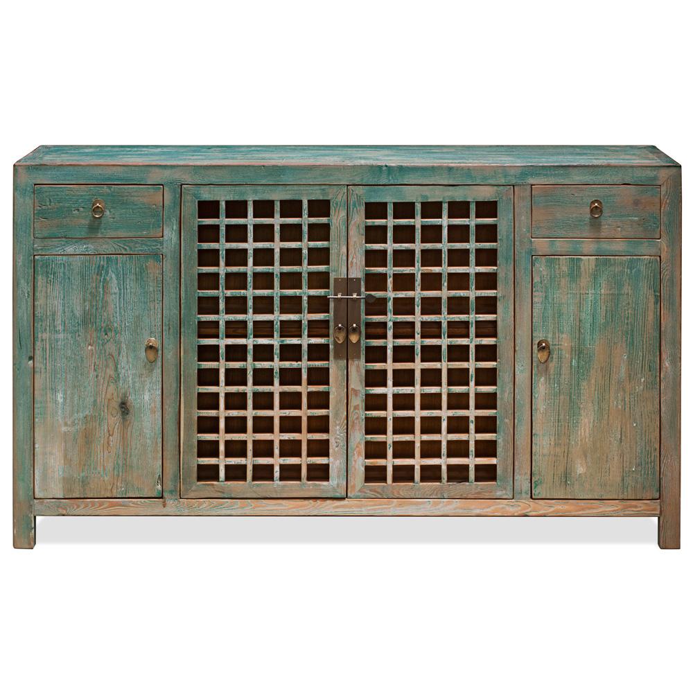 Distressed Blue Elmwood Ming Sideboard