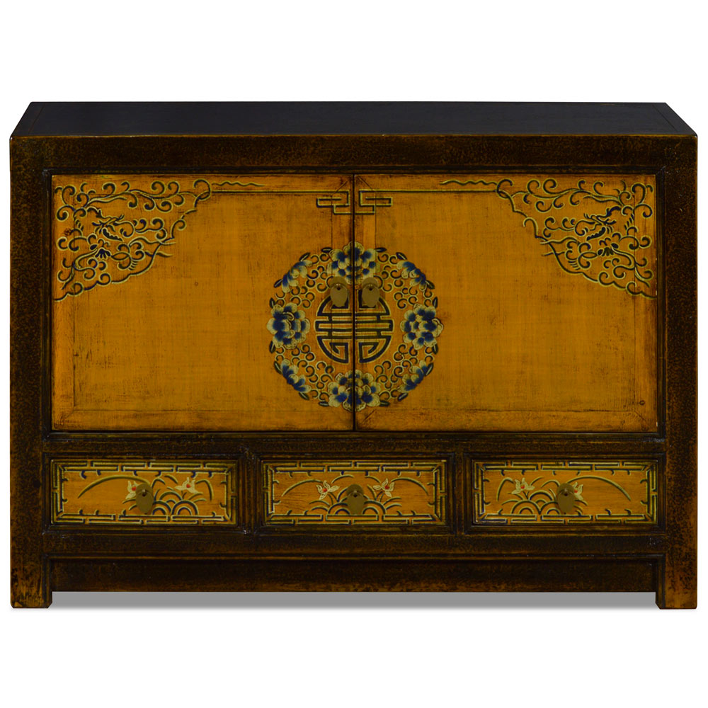 Distressed Golden Yellow Elmwood Qing Dynasty Oriental Cabinet