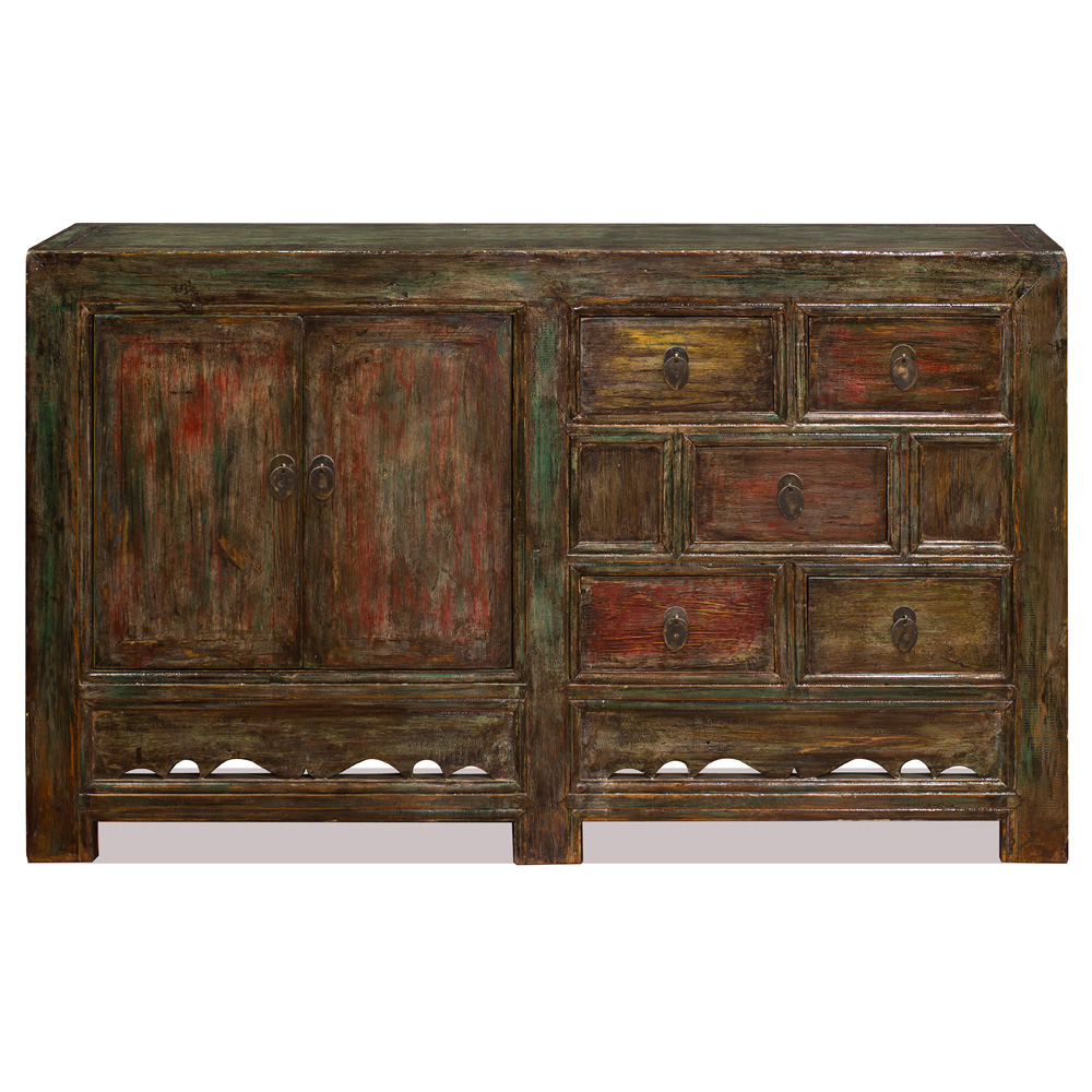 Distressed Elmwood Mandarin Cabinet