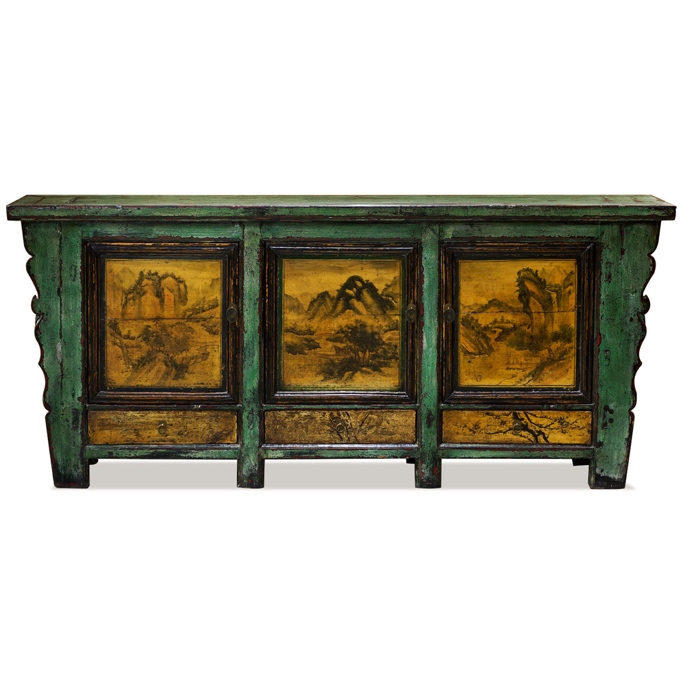 Distressed Viridian Elmwood Palace Sideboard with Painted Scenery