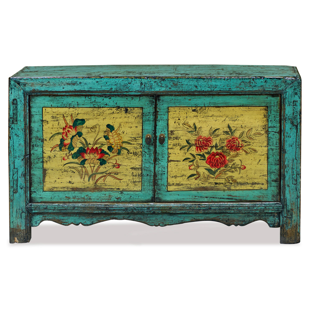 Distressed Cyan Elmwood Mongolian Cabinet with Peony and Lotus Painting