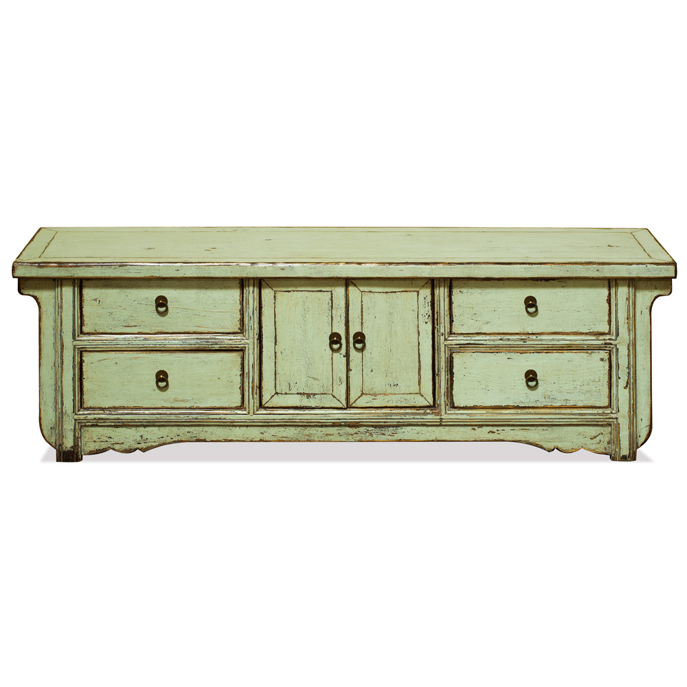 Elmwood Distressed Pastel Green Kang Oriental Sideboard