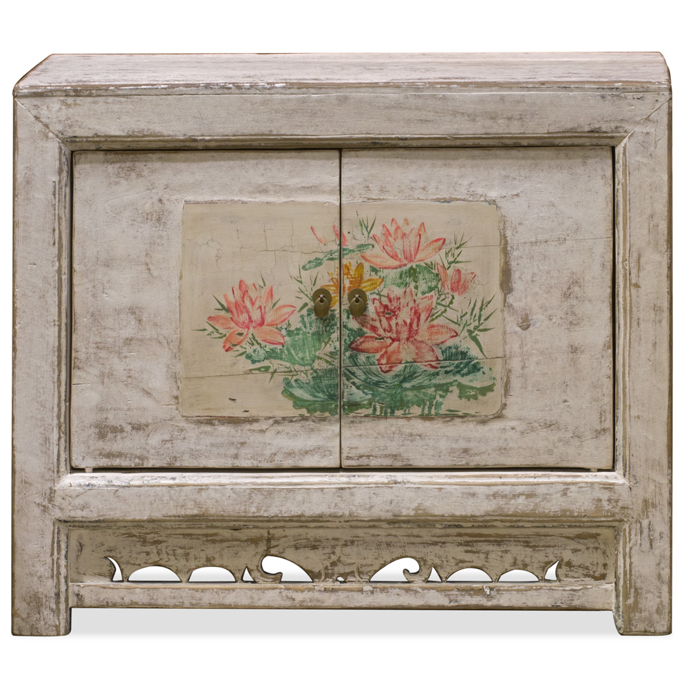 Elmwood Lotus Flower Mongolian Cabinet