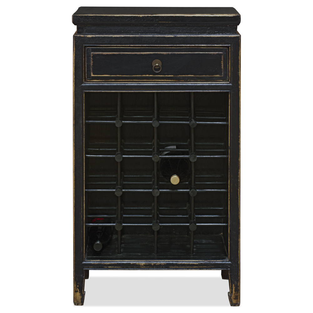 Distressed Black Elmwood Mandarin Wine Bar Cabinet