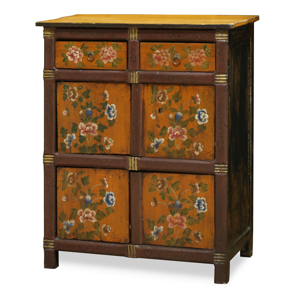 Hand-Painted Floral Motif Tibetan Cabinet