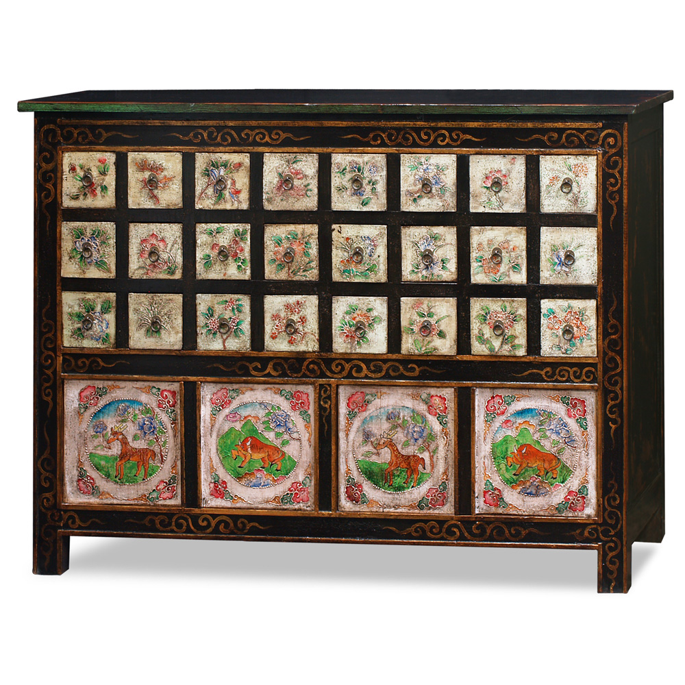 Hand Painted Tibetan Chest of Drawers
