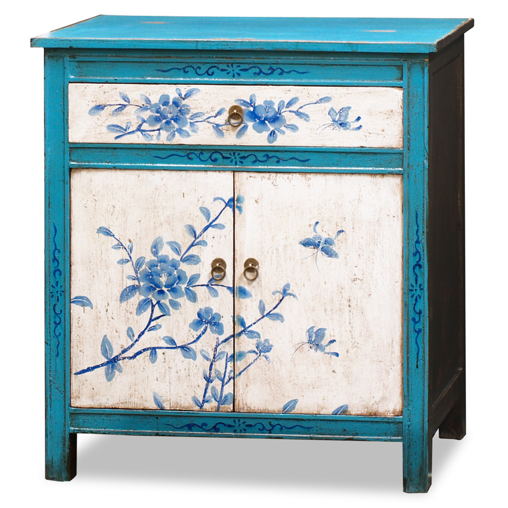 Hand-Painted Tibetan Floral Motif Cabinet