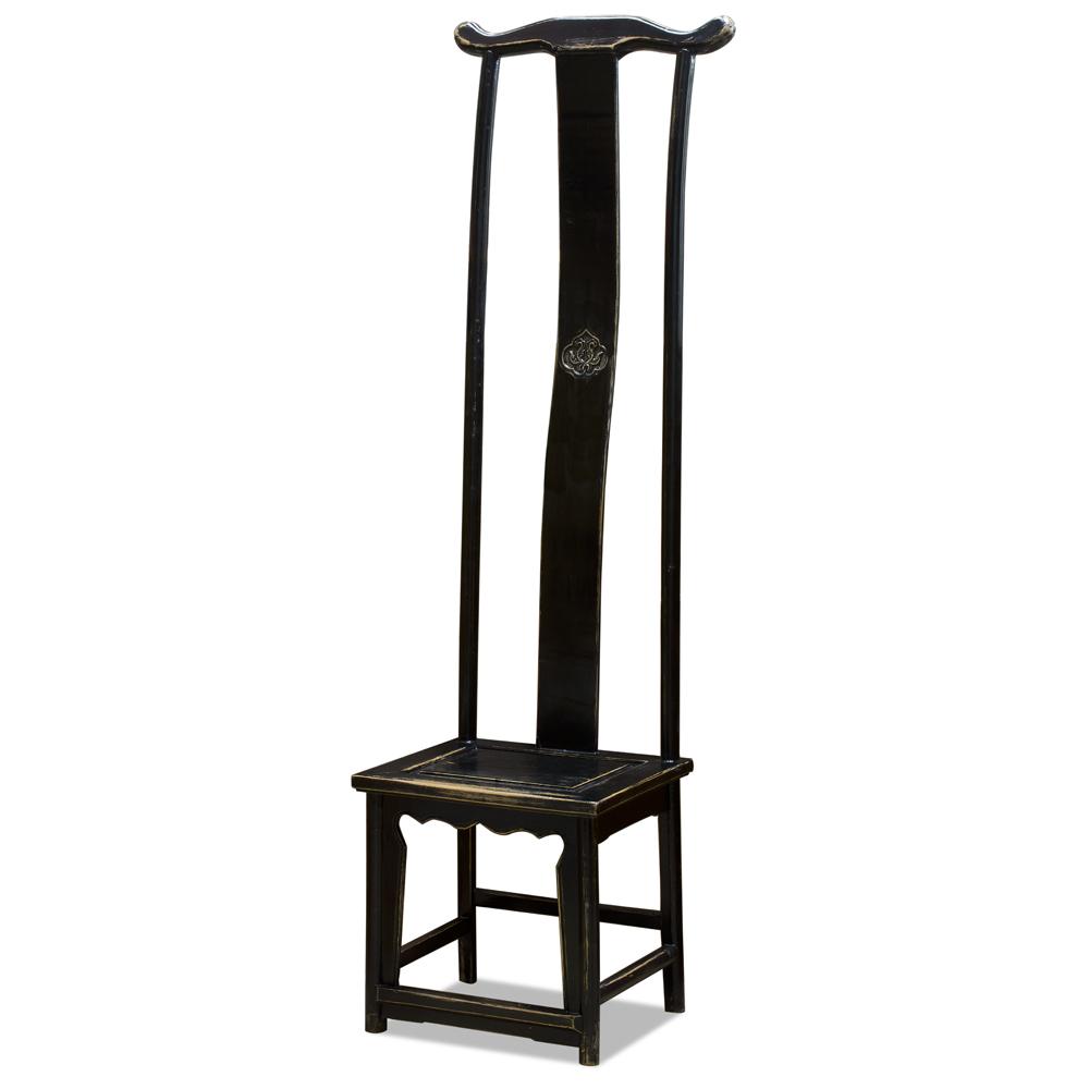 Distressed Black Elmwood Ming Tall Chair