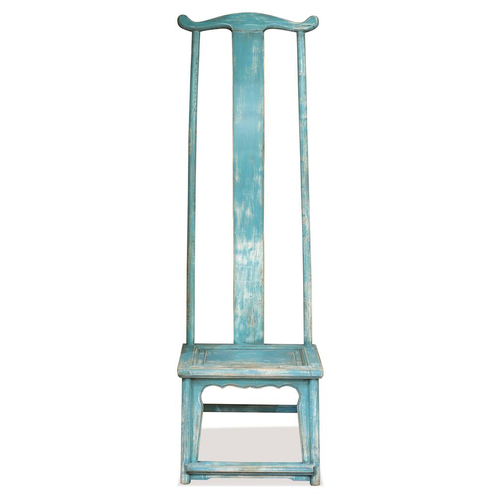 Distressed Powder Blue Elmwood Ming Tall Chair