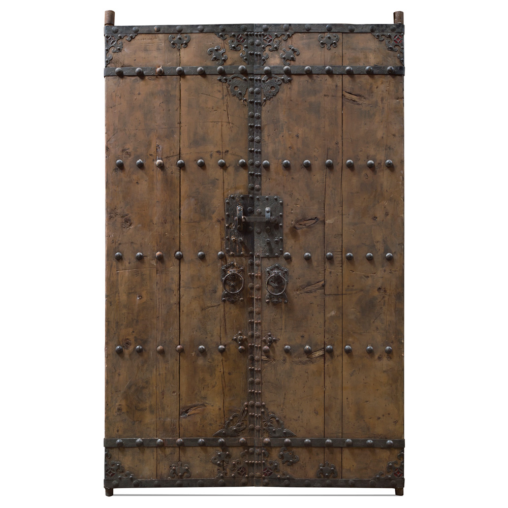 Antique Peking Oriental Wooden Doors