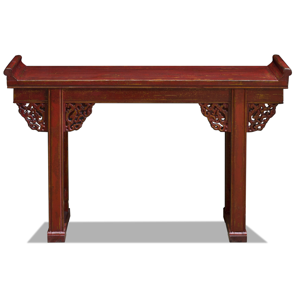 Vintage Red Elmwood Cloud Altar Console Table