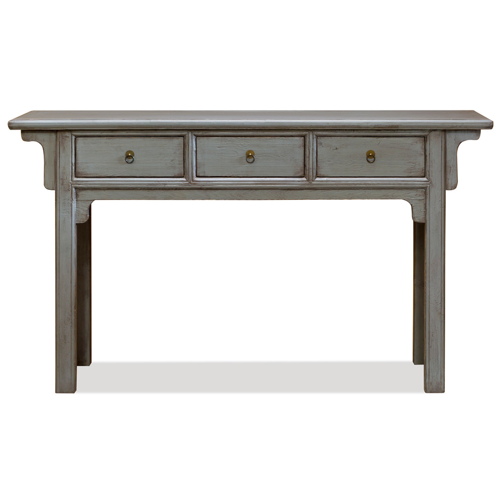 Distressed Gray Elmwood Ming Altar Console Table