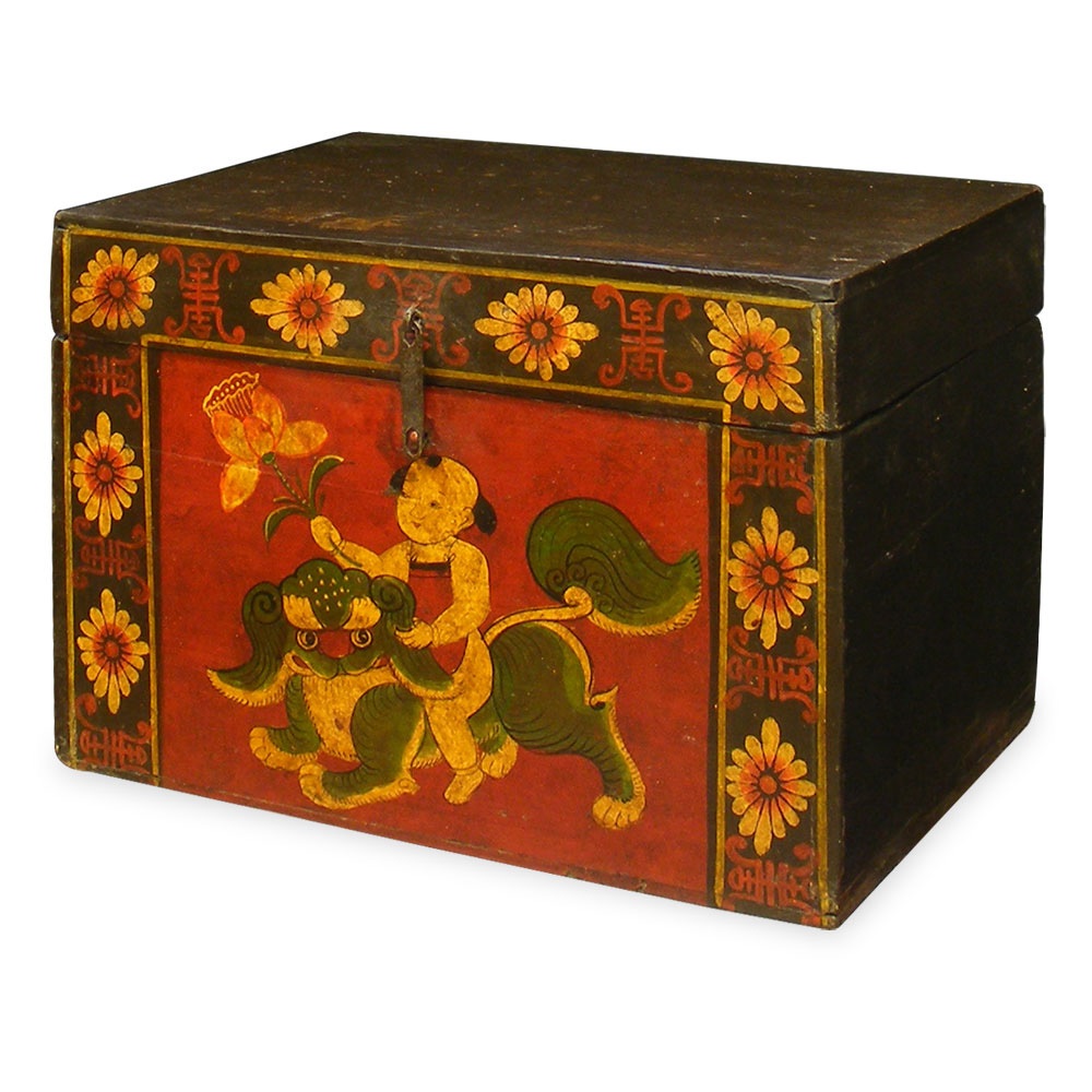 Hand-Painted Tibetan Elmwood Treasure Box