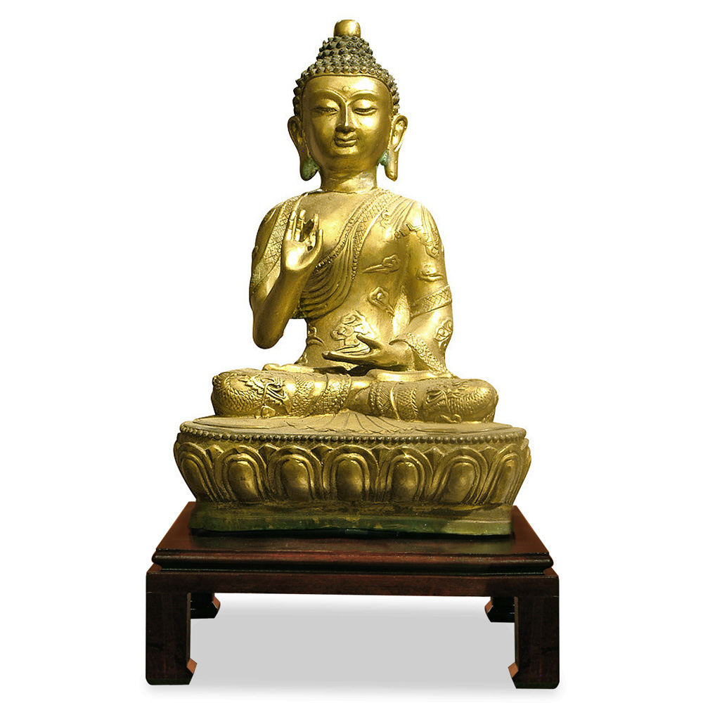 Golden Bronze Tibetan Buddha Sitting in Abhaya Mudra