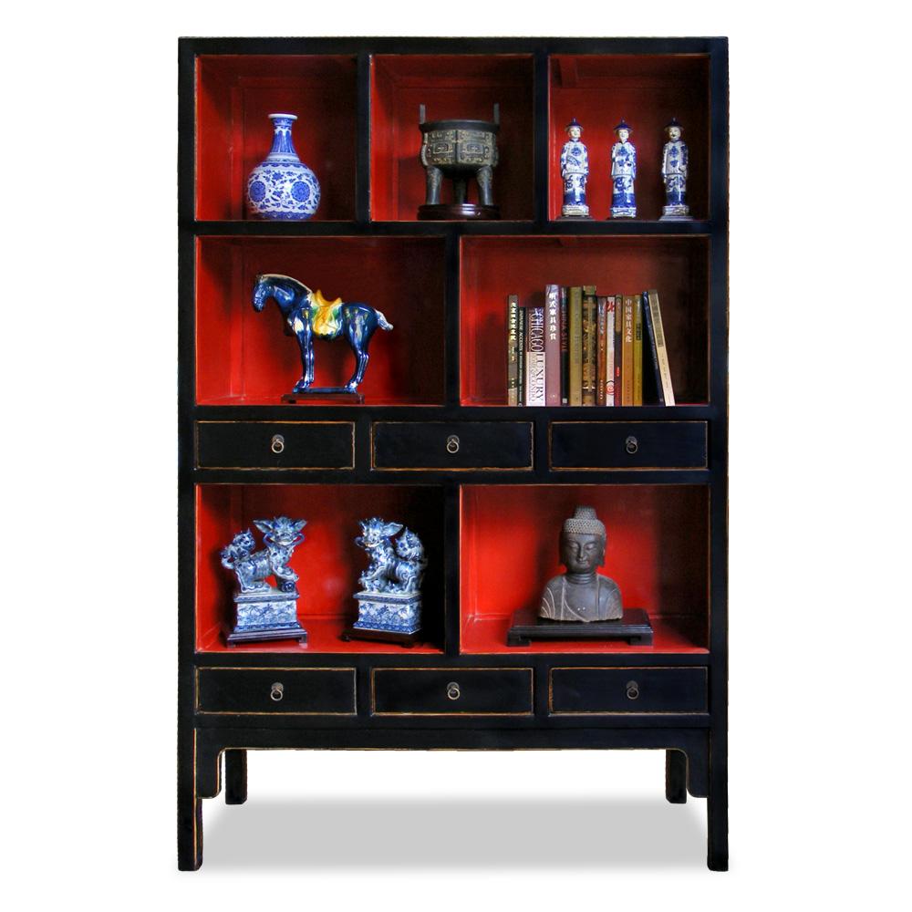 Distressed Black Elmwood Ming Oriental Bookcase