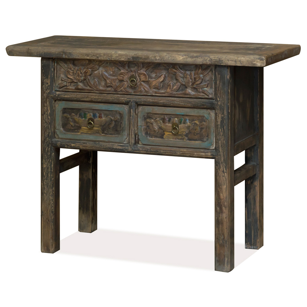 Vintage Elmwood Asian Accent Table with Floral Carving