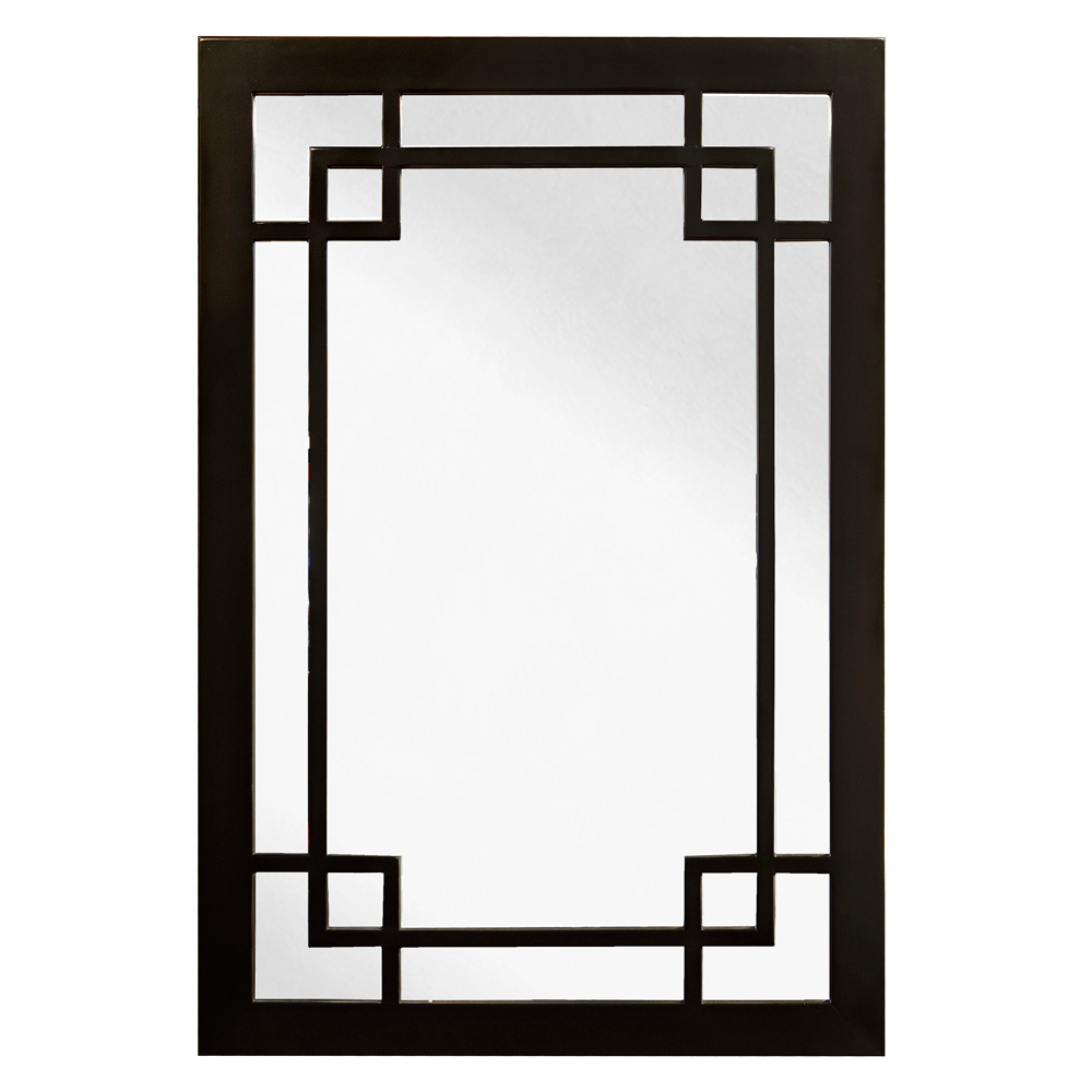 Black Elmwood Window Panel Asian Mirror