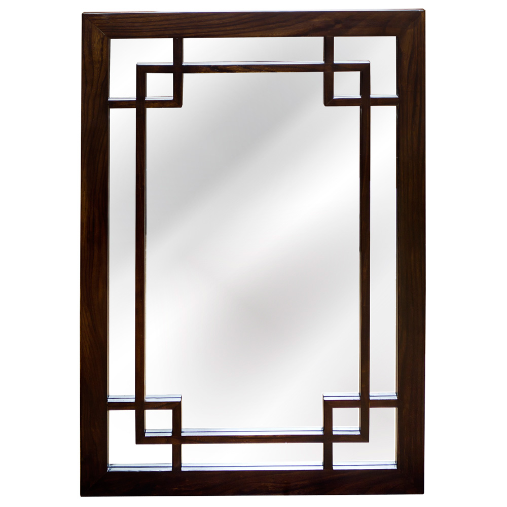 Espresso Elmwood Window Panel Asian Mirror
