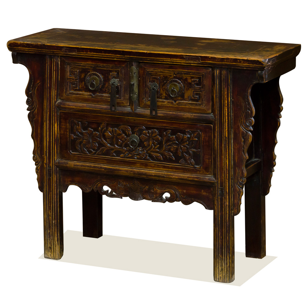 Vintage Elmwood Village Peony Altar Cabinet
