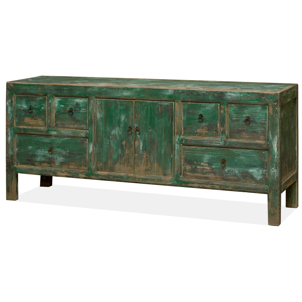 Vintage Elmwood Distressed Teal Kang Cabinet