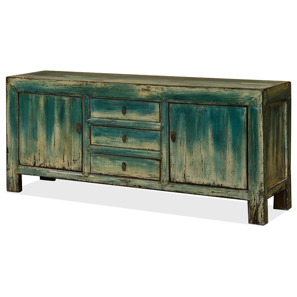 Vintage Elmwood Distressed Blue Kang Mandarin Cabinet