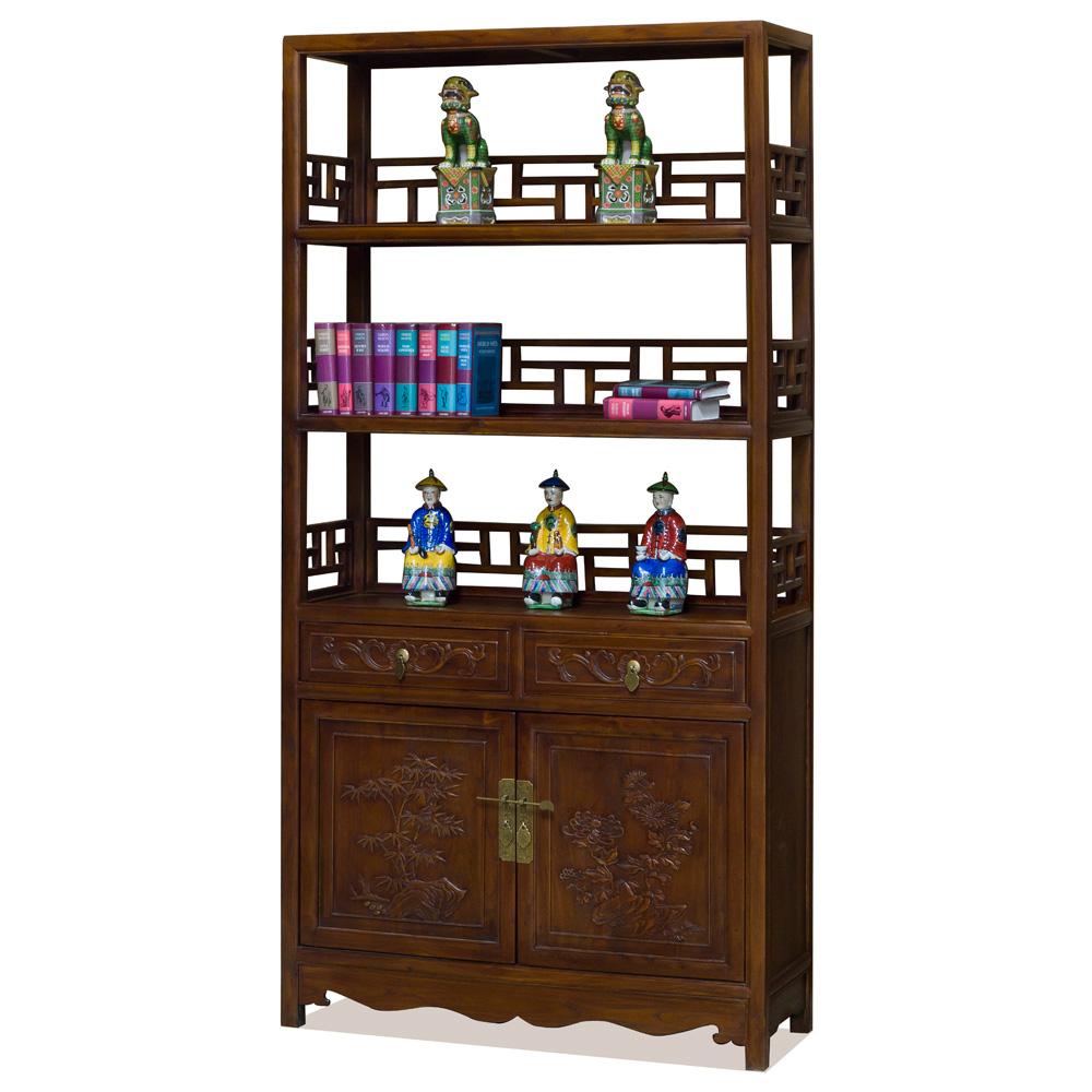 Vintage Elmwood Qing Bookcase