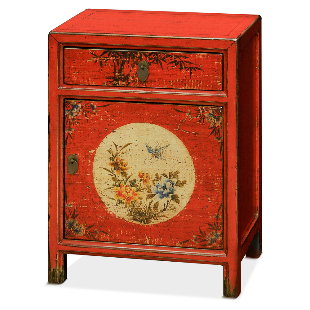 Elmwood Petite Flower and Butterfly Motif Tibetan Cabinet