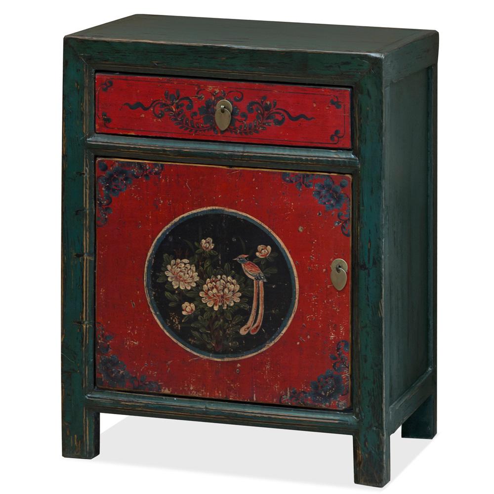 Elmwood Peony and Bird Still Life Tibetan Cabinet