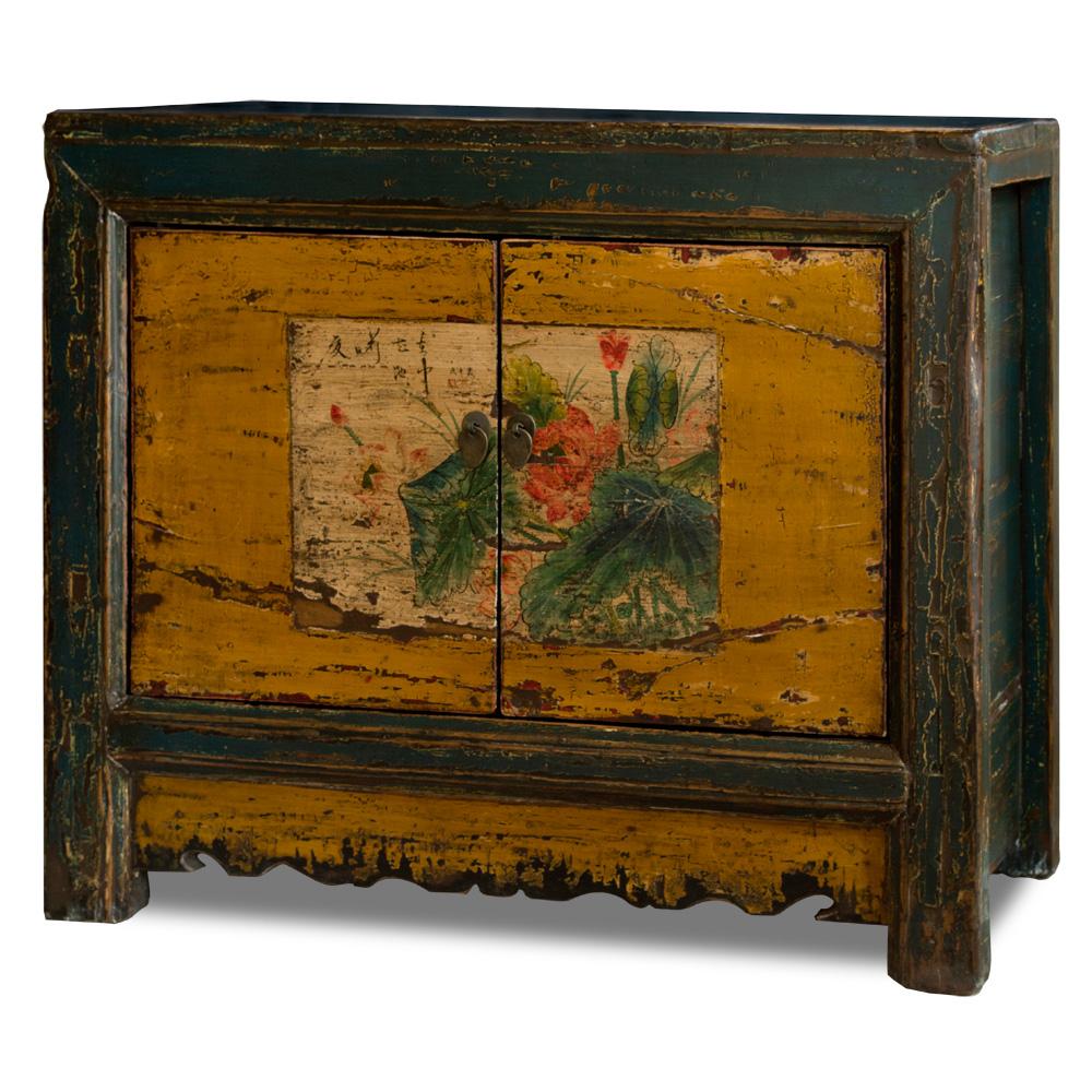 Vintage Elmwood Lotus Pond Cabinet