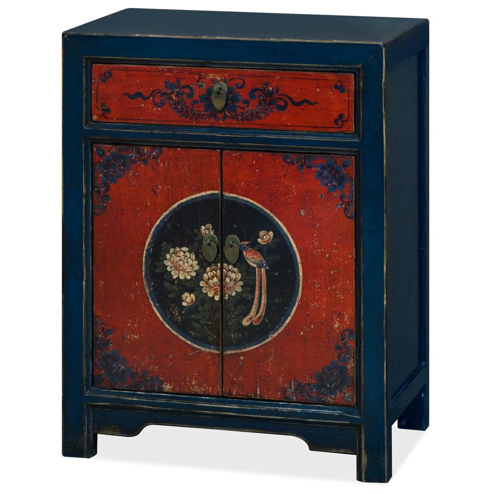 Hand-Painted Elmwood Tibetan Cabinet