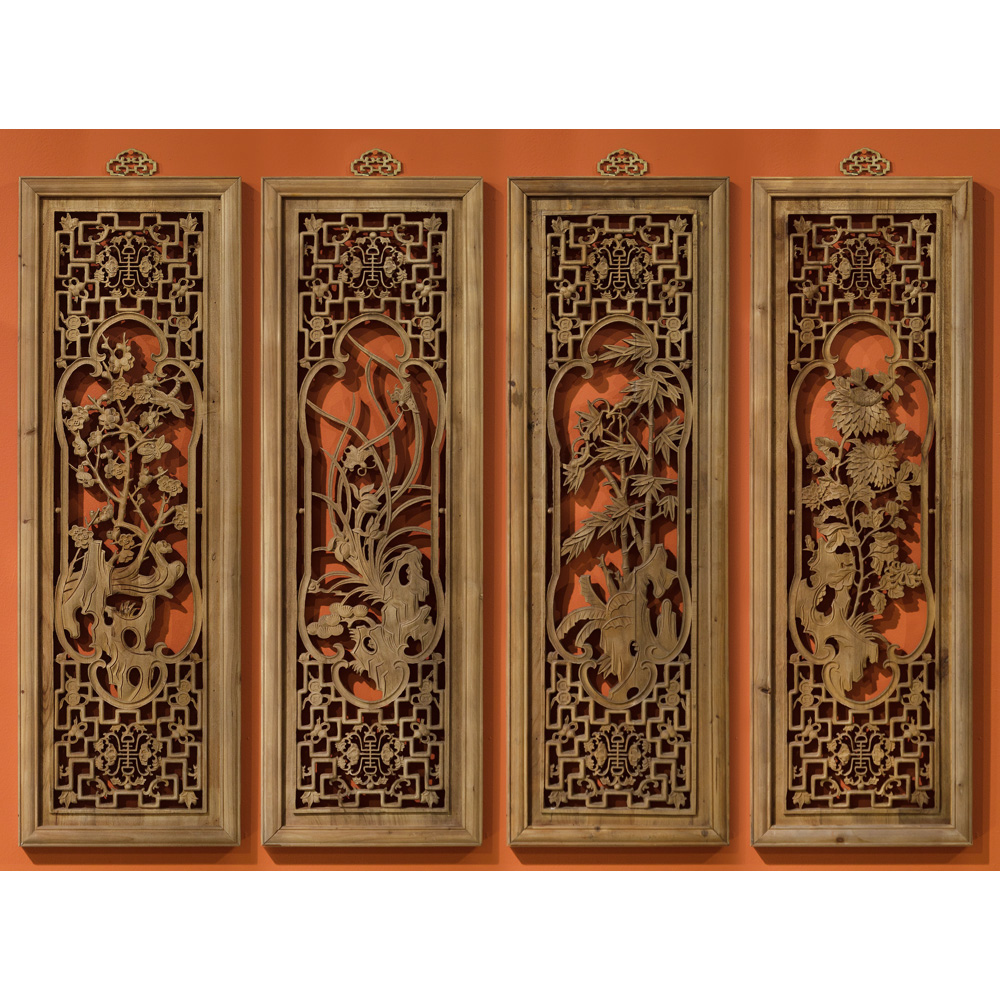 Hand Carved Cedarwood Window Panels (Set of Four)