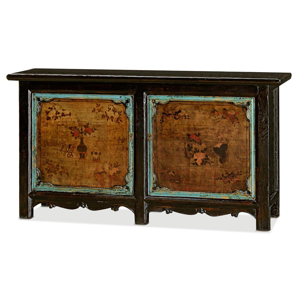 Hand Painted Elmwood Village Cabinet