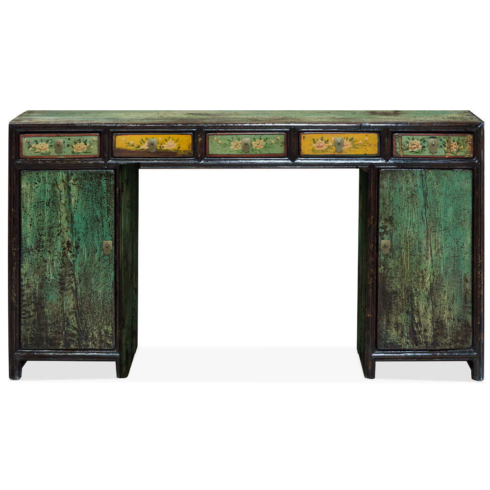 Vintage Elmwood Tibetan Console Table