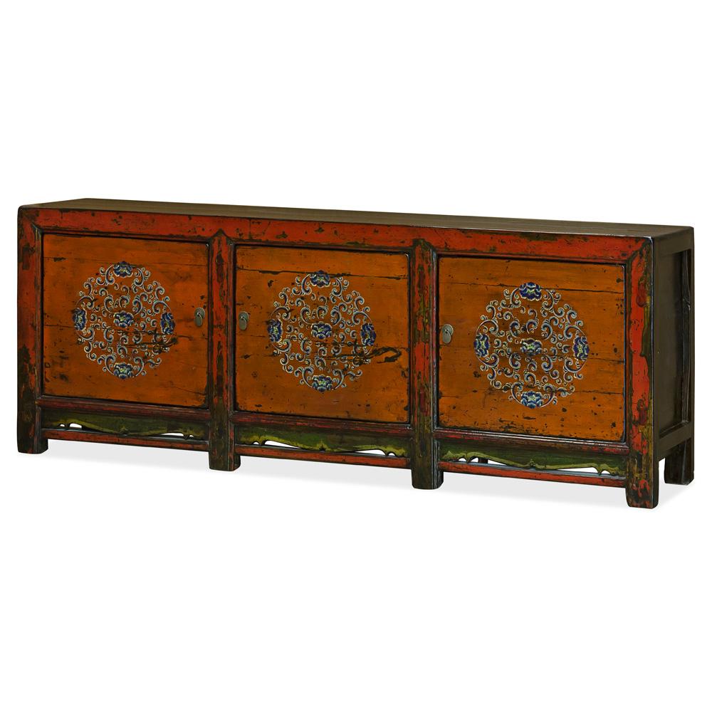 Vintage Tangerine Elmwood Yan Yan Tibetan Cabinet