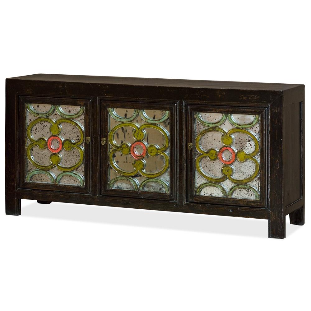 Vintage Elmwood Celtic Motif Mirrored Cabinet
