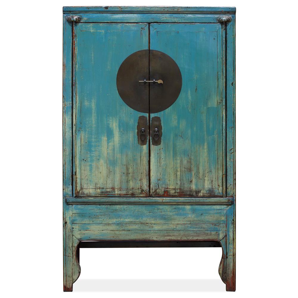 Vintage Blue Elmwood Chinese Wedding Cabinet