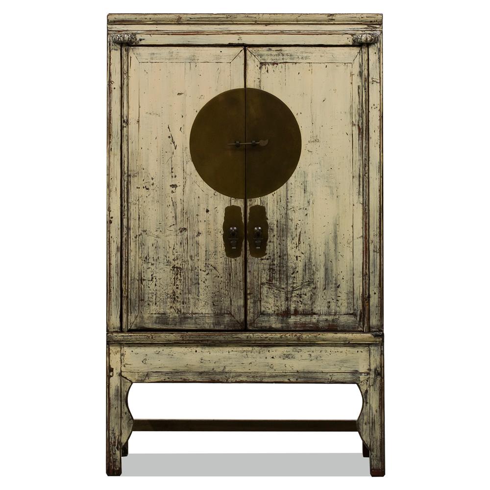 Vintage White Elmwood Chinese Wedding Cabinet