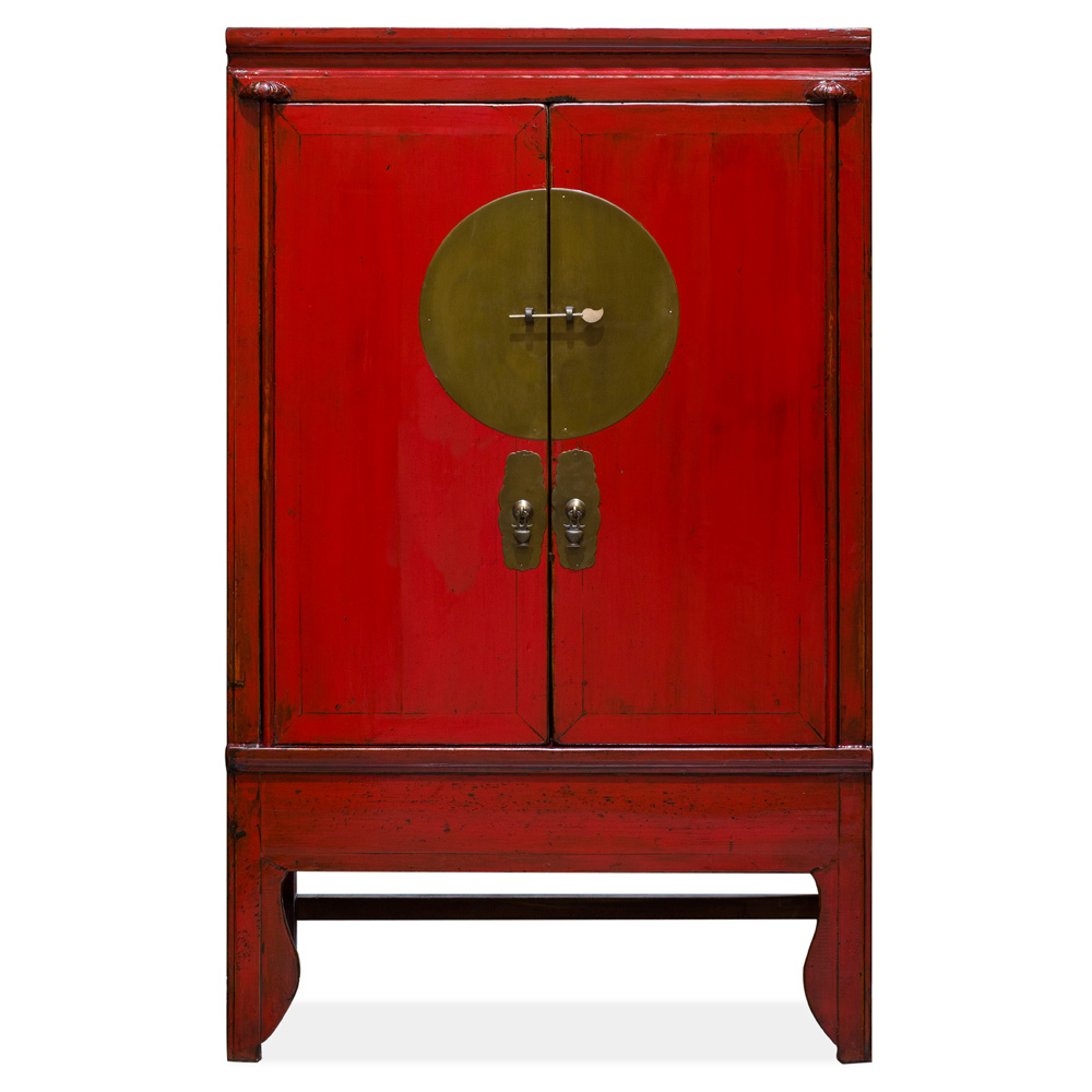 Vintage Elmwood Chinese Red Wedding Cabinet