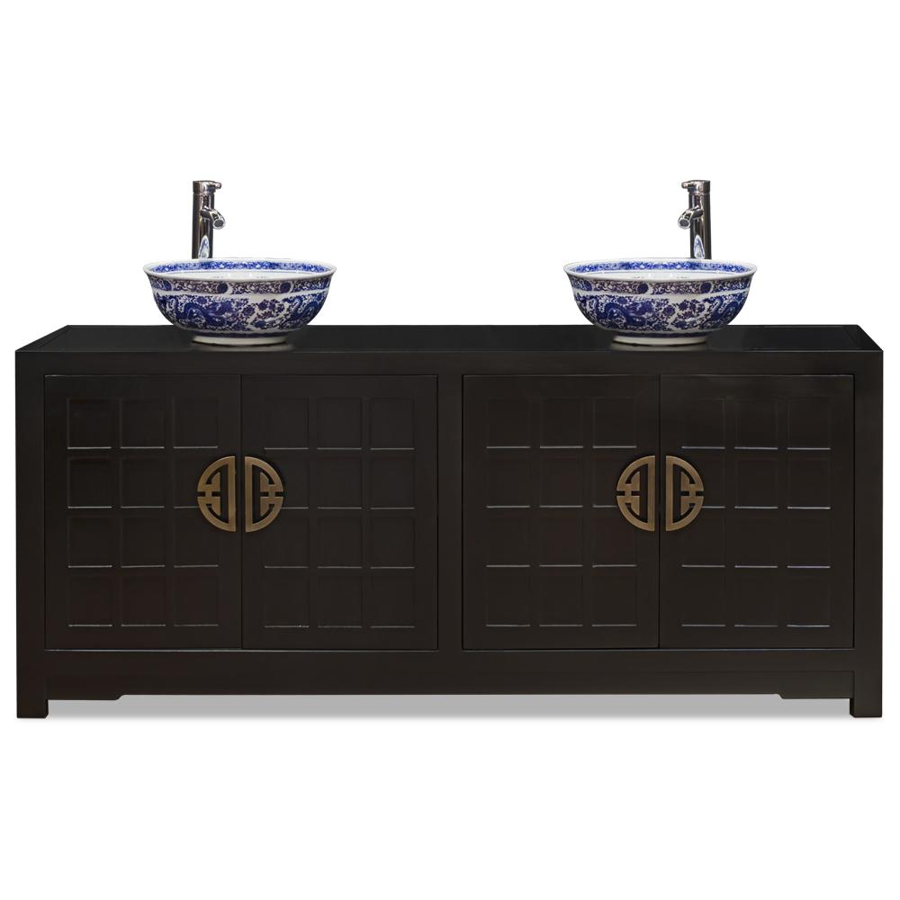 Matte Black Elmwood Japanese Sho Ji Double Vanity Cabinet