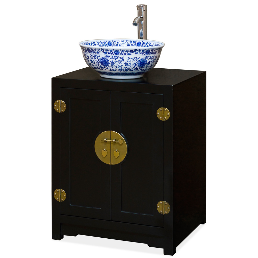 Matte Black Petite Elmwood Chinese Ming Vanity Cabinet
