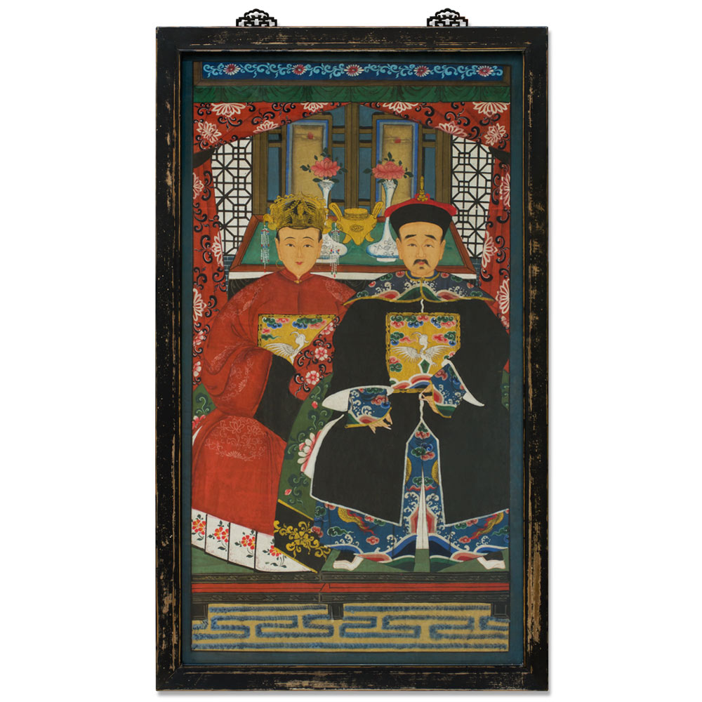 Vintage Grand Ancestor Portrait Chinese Painting