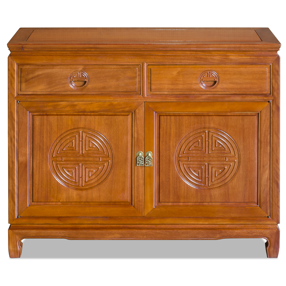Natural Finish Rosewood Chinese Longevity Sideboard