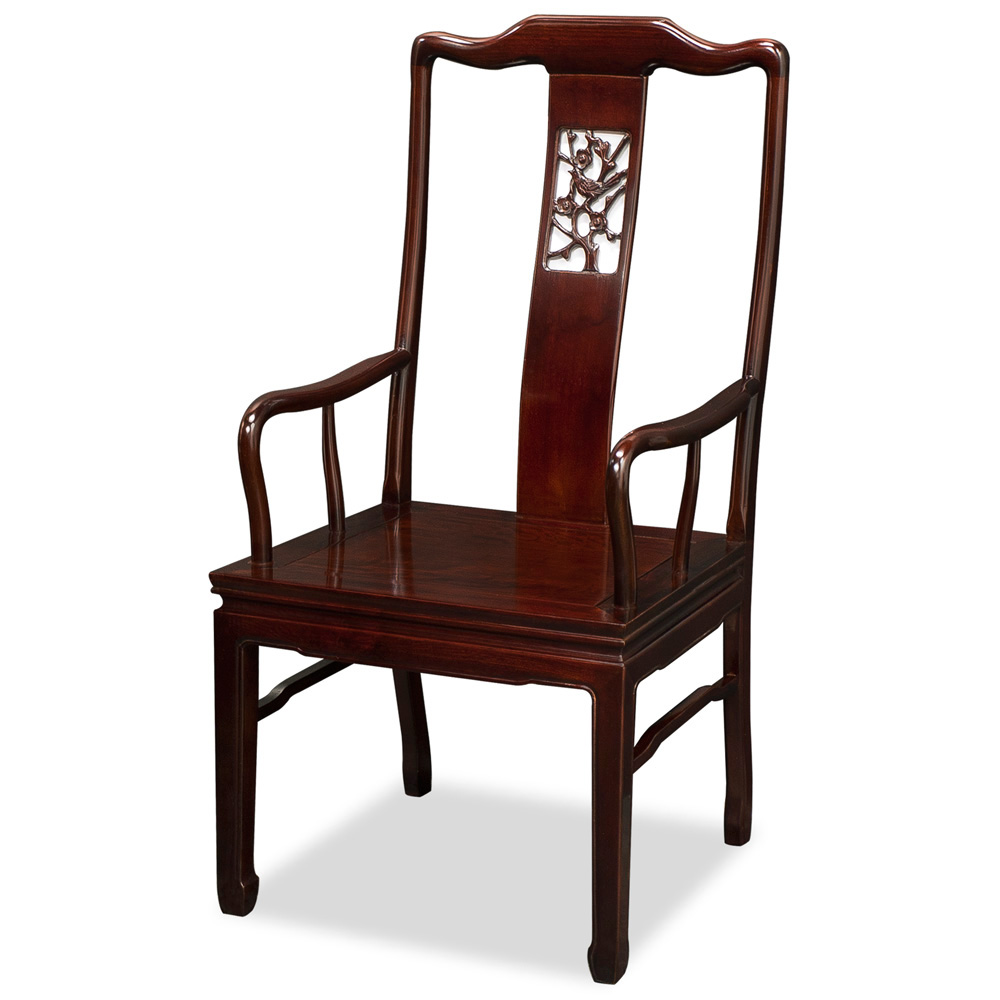 Mahogany Finish Rosewood Flower and Bird Motif Arm Chair