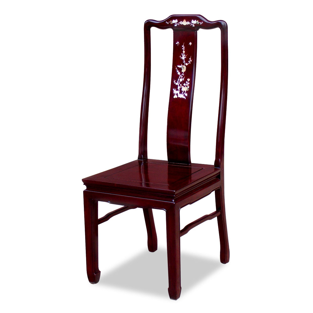 Dark Cherry Rosewood Mother of Pearl Inlay Oriental Side Chair