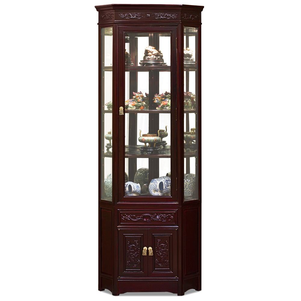 Dark Cherry Rosewood Dragon Oriental Corner Display Cabinet