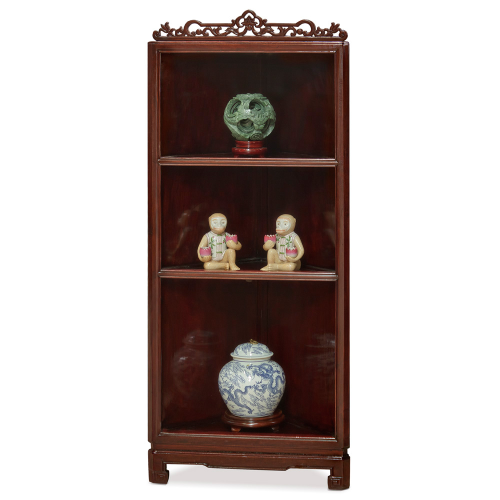 Dark Cherry Rosewood Corner Cabinet